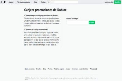 Canjear promocodes de roblox