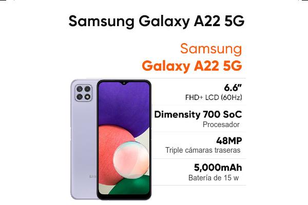 Características Samsung Galaxy A22 5G