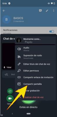 Videollamada Telegram Compartir Pantalla